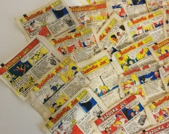 5 Bazooka Joe Comic strip bubble gum wrappers  Vintage paper supplies old ephemera advertising lot