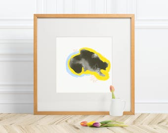 8 by 8 Unique Yellow and Blue Abstract Print Art