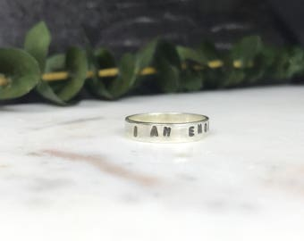 I Am Enough Ring   Sterling Silver Band   Positivity Ring