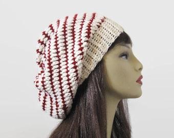 Slouch Cream Beanie Crochet Slouchy Hat Striped Off White knit Slouch Hat Beige Crochet Hat Cream Cap Striped Slouchy Hat Slouch Tam