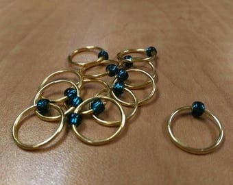 Snagless Knitting Stitch Markers - Gold with Teal glass bead