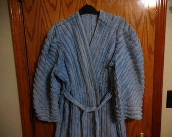 Old Hollywood Style Chenille ROBE - Faded Denim BLUE Plush Lines and Pretty Scroll Designs - Vintage Chenille BATHROBE - Free Shipping
