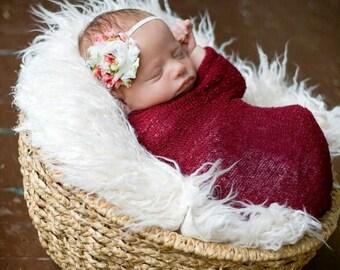 SALE Vintage Inspired Ivory & Pink Floral Frayed Chiffon Flower Skinny Headband - Photo Prop - Newborn Infant Toddler - Baby Shower