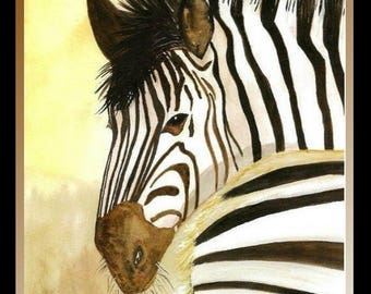 SALE High quality print of Zebras from original watercolor painting by Nicolette Vaughan Horner