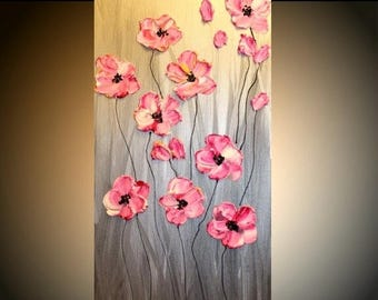 """SALE ABSTRACT Original gallery canvas  contemporary 24"""" palette knife signature floral impasto oil painting by Nicolette Vaughan Horner"""