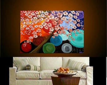 """SALE 48"""" Oil Landscape Abstract Original Modern palette knife """"Happiness Tree"""" oil  impasto oil painting by Nicolette Vaughan Horner"""