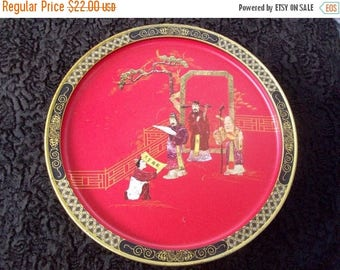On Sale Vintage Asian Inspired Oriental Red & Black Tin 1960s Box Collectible Home Storage Solutions by Sunshine Biscuits Mid Century Modern