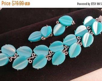On Sale Lisner Signed Vintage Aqua Lucite Bracelet & Earrings, Demi Parure 1950's Collectible Jewelry Set Rockabilly Mad Men Mod