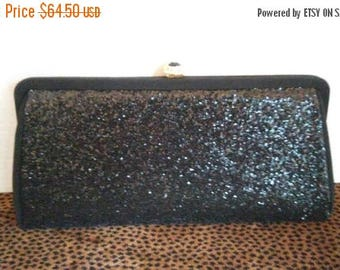 Now On Sale 1950's 1960's Black Tie Formal Clutch Purse * Antique Evening Bag *  Vintage Clutch Handbag