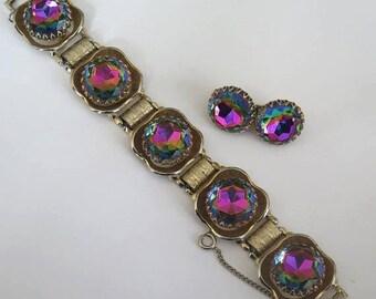 On Sale Vintage Rhinestone Bracelet Earring Set Headlight Demi Parure 50s 60s Watermelon Heliotrope Hollywood Regency Jewelry