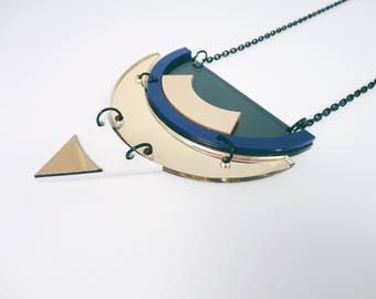 Thalos | Oversized Geometric Aztec Necklace | Handmade with Love in Italy by Plexi Shock