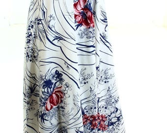Vintage 70s Blue White Floral Swirly Oriental Midi Skirt UK 8 US 6