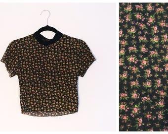 Black Pink Ditsy Floral Grunge 90s Inspired Crop Top