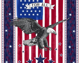 LIBERTY  Fabric Panel WINDHAM- USA -Eagle on red white stripes 23 by 44 in~patriotic americana old glory