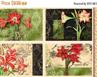 20 % off thru 7/4 fabric panel CHRISTMAS IN BLOOM- makes set of 4 placemats- by Wilmington Fabrics- 24 by 44 inches-amaryllis flowers holida