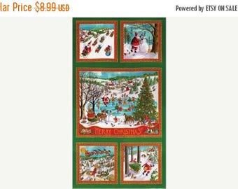 20 % off thru 7/4 WINTER WONDERLAND Christmas Santa at play Moda panel cotton quilt fabric Ingrid-23090-12