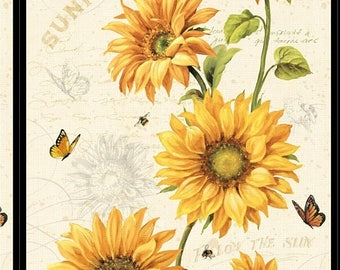12% off thru July FOLLOW THE SUN -sunflowers-yellow-butterflies, bees by Wilmington Fabrics- 24 by 44 inches-86246-157
