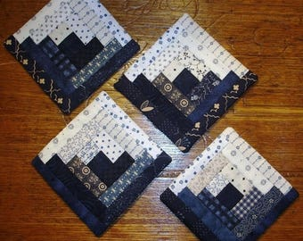20 % off thru 8/20 Set of 4 blue white coasters log cabin quilted