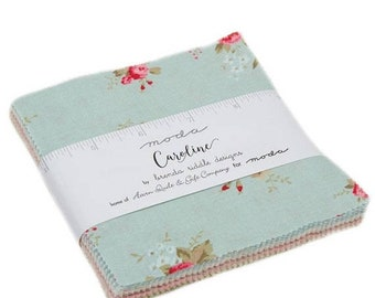 "15% off thru Mar.19th Moda Charm pack CAROLINE  42 5"" squares BRENDA RIDDLE Designs cotton fabric floral 18650Pp"