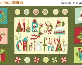 15% off thru Mar.19th moda fabric panel VERY MERRY pine green 17830-13 Sandy Gervais Christmas tree, wreath, stockings
