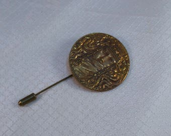 1930's Art Nouveau Bronze Maiden Coin Stick Pin