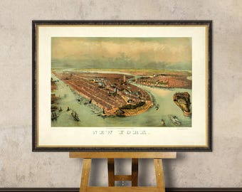 New York City  poster - Vintage panoramic map of New York  City - Bird's eye view over NYC  - Arhival print