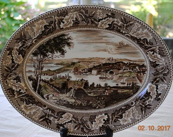 """Johnson Brothers Made in England 14"""" Oval Serving Platter in Historic America Brown Multicolor"""