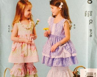 McCall's M7110, Size 6-7-8, Children's/Girls' Dresses, Pants and Necklace Pattern, UNCUT, Ruffles and Lace, Party Dress, Ruffles, School