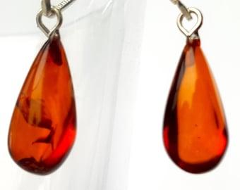 Earrings; Red earrings, Baltic Amber Earrings