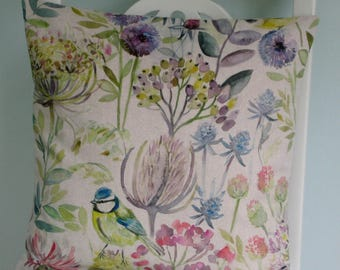 """Country Hedgerow Print Envelope Cushion Cover - Linen and Cotton mix Fabric, 16""""x16"""", Home Decor"""