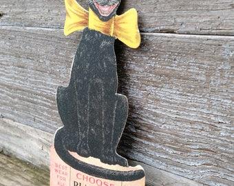 Vintage Black Cat Hosiery Die Cut Advertising Display Placard