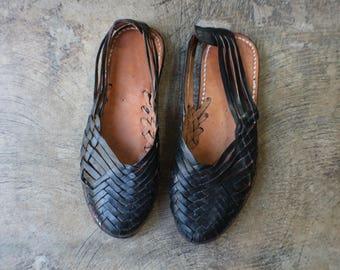 Size 7 1/2 Huarache loafers / Woven Leather Sandals / Women's Summer Black Sandal