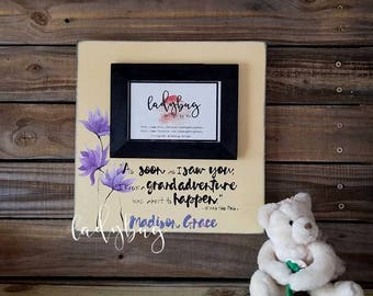 As soon as I saw you, I knew an adventure was going to happen. Winnie the Pooh. Personalized frame, quote and art painted.