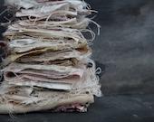 scrap bundle of textile fragments vintage remnants destash