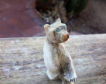 Zuni Carved Bone Fetish Bear Miniature Figurine Turquoise Eyes Native American Arts Southwest USA