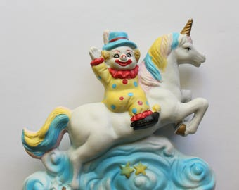Vintage Clown Riding a Unicorn Colorful Ceramic Statue 1980s