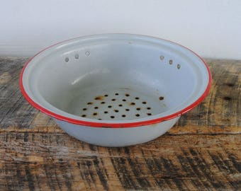 Vintage Enamelware Strainer Colander Grey with Red