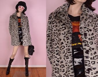 90s Leopard Print Faux Fur Jacket/ Medium/ 1990s/ Coat