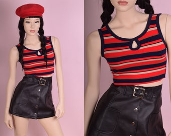 90s Striped Crop Top/ Small/ 1990s/ Tank/ Keyhole