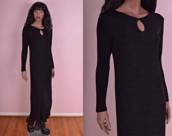 90s Black Maxi Dress/ Medium/ 1990s/ Long Sleeve/ Keyhole