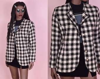 80s Black and Cream Gingham Jacket/ Small/ 1980s