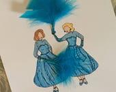 White Christmas Fashion Sketch- Sisters
