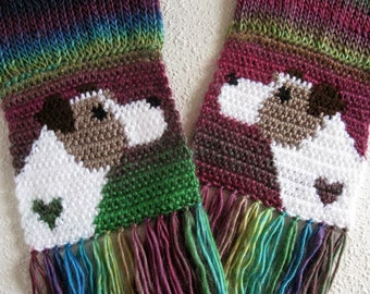 Jack Russell Terrier Scarf. Colorful knit and crochet scarf with Parsons terrier dogs.