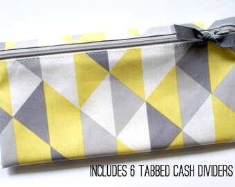 Matte laminated cotton cash or coupon organizer with tabbed dividers