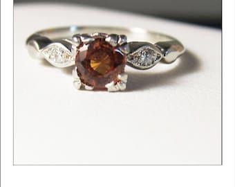 Vintage 14k Spessartite  Orange Garnet Engagement Ring