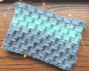 Chunky Knit Cowl, Knit Neckwarmer / The Bonnie Crest Cowl/ in Gray and Mint