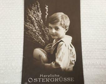 Vintage German Easter postcard, Herzliche Ostergrusse, best Eastern greetings