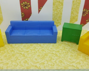 Marx Living room Sofa Tv  End Table Arm Chair  Furniture  Dollhouse Traditional Style Hard Plastic