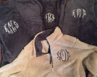 Monogrammed Preppy Sherpa Sweatshirt, Fleece Sweatshirt