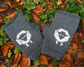 Woolly Sheep Mittens KNITTING PATTERN in pdf | DIY pattern to make Fingerless Mittens/Gloves with sheep motifs in Child to Adult sizes